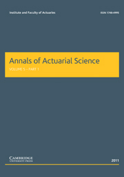 Annals of Actuarial Science Volume 5 - Issue 1 -