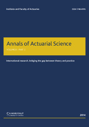 Annals of Actuarial Science Volume 8 - Issue 2 -