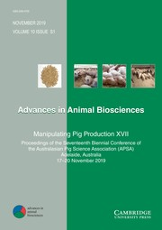 Advances in Animal Biosciences Volume 10 - Special Issues1 -  Manipulating Pig Production XVII - Proceedings of the Seventeenth Biennial Conference of the Australasian Pig Science Association (APSA) Adelaide, Australia 17–20 November 2019