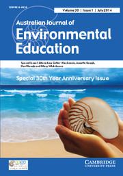 Australian Journal of Environmental Education Volume 30 - Issue 1 -