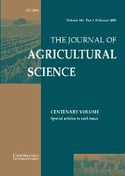 The Journal of Agricultural Science Volume 143 - Issue 1 -