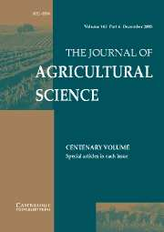 The Journal of Agricultural Science Volume 143 - Issue 6 -