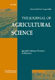 The Journal of Agricultural Science Volume 144 - Issue 4 -