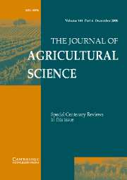 The Journal of Agricultural Science Volume 144 - Issue 6 -