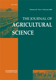 The Journal of Agricultural Science Volume 147 - Issue 1 -