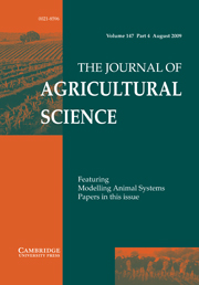 The Journal of Agricultural Science Volume 147 - Issue 4 -
