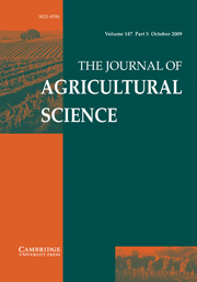 The Journal of Agricultural Science Volume 147 - Issue 5 -