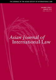 Asian Journal of International Law Volume 5 - Issue 1 -