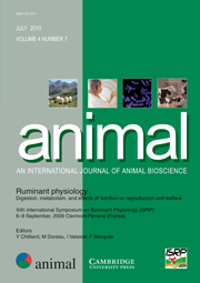 animal Volume 4 - Issue 7 -  XIth International Symposium on Ruminant Physiology (ISRP), 6–9 September, 2009 Clermont-Ferrand (France)