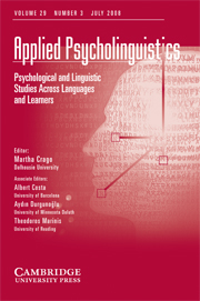 Applied Psycholinguistics Volume 29 - Issue 3 -