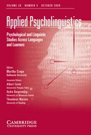 Applied Psycholinguistics Volume 30 - Issue 4 -