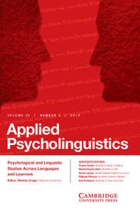 Applied Psycholinguistics Volume 35 - Issue 4 -
