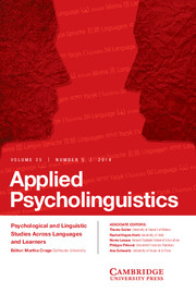Applied Psycholinguistics Volume 35 - Special Issue5 -