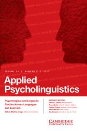 Applied Psycholinguistics Volume 36 - Issue 5 -