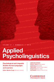 Applied Psycholinguistics Volume 37 - Issue 4 -
