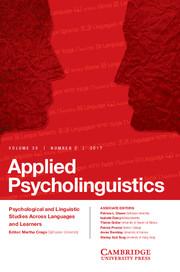 Applied Psycholinguistics Volume 38 - Issue 2 -