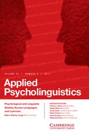 Applied Psycholinguistics Volume 38 - Issue 5 -
