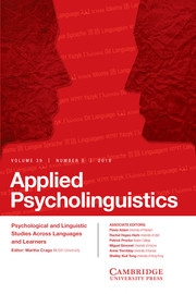 Applied Psycholinguistics Volume 39 - Issue 5 -