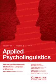 Applied Psycholinguistics Volume 39 - Issue 6 -