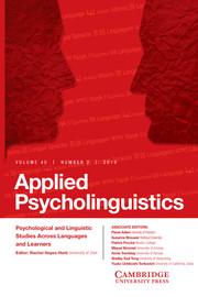 Applied Psycholinguistics Volume 40 - Issue 2 -