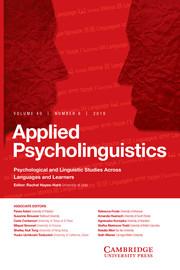 Applied Psycholinguistics Volume 40 - Issue 6 -