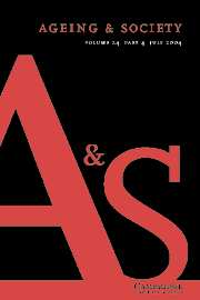 Ageing & Society Volume 24 - Issue 4 -