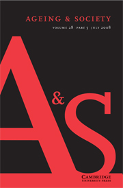Ageing & Society Volume 28 - Issue 5 -
