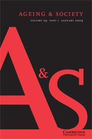 Ageing & Society Volume 29 - Issue 1 -