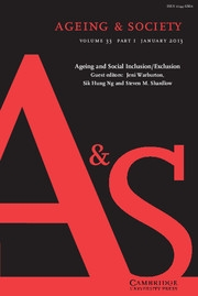 Ageing & Society Volume 33 - Issue 1 -  Ageing and Social Inclusion/Exclusion