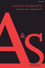 Ageing & Society Volume 38 - Issue 12 -