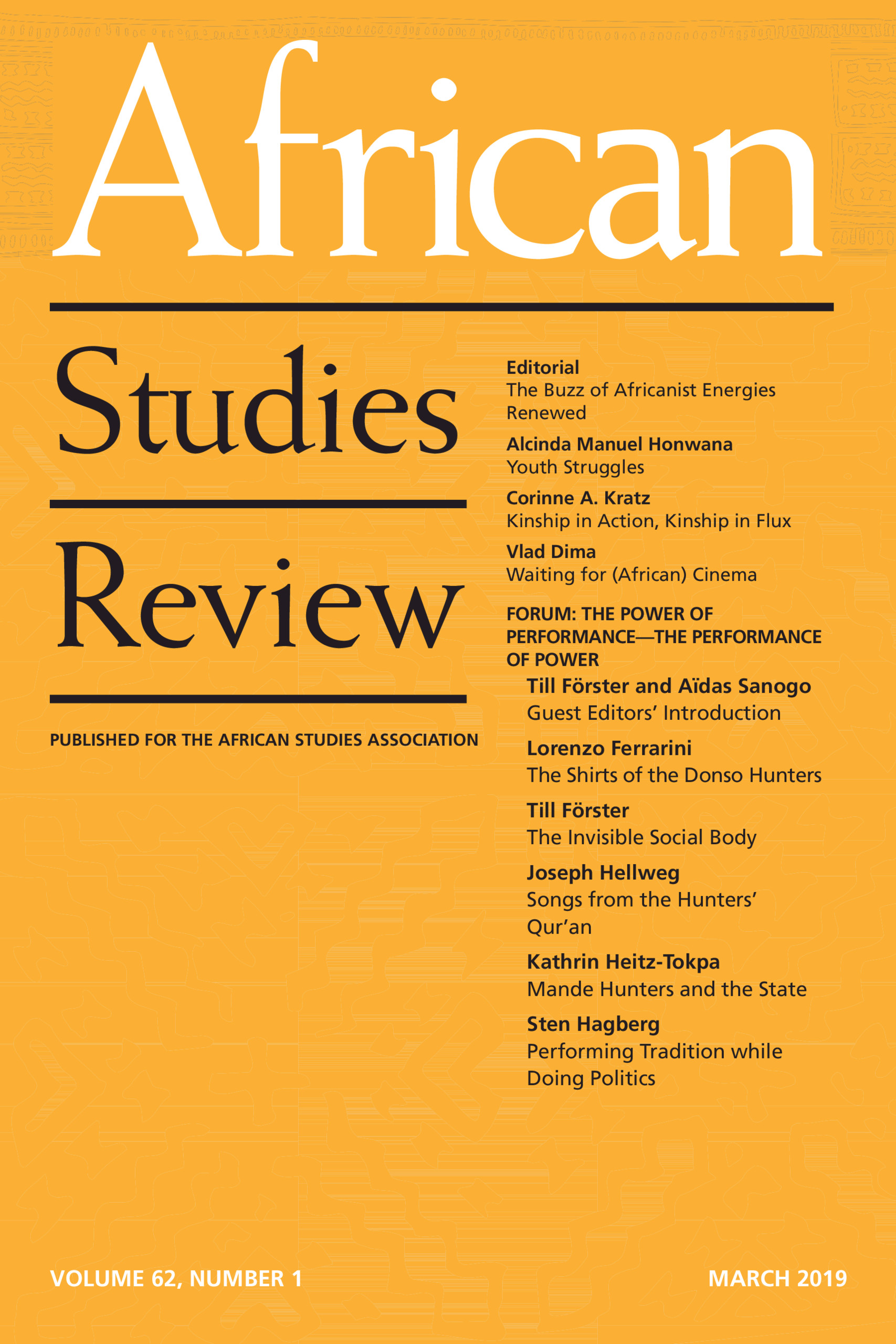 African Studies Review Volume 62 - Issue 1 -