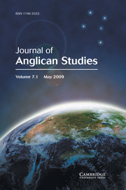 Journal of Anglican Studies Volume 7 - Issue 1 -
