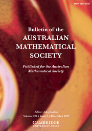 Bulletin of the Australian Mathematical Society Volume 100 - Issue 3 -