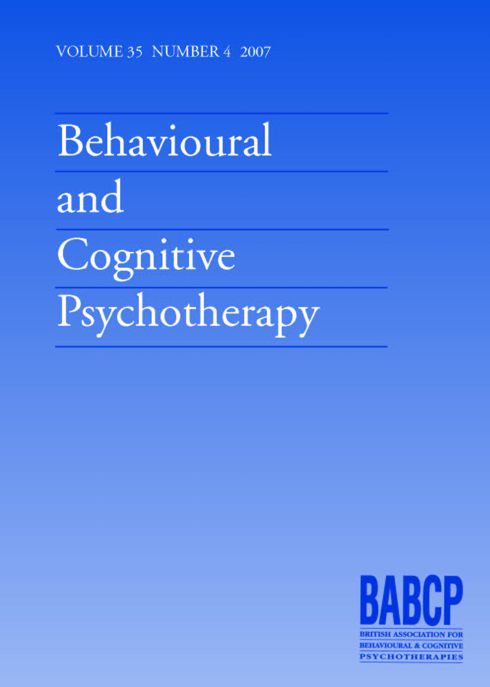 Behavioural and Cognitive Psychotherapy Volume 35 - Issue 4 -
