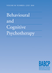 Behavioural and Cognitive Psychotherapy Volume 38 - Issue 4 -