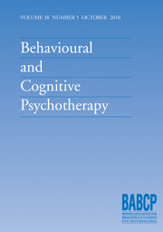 Behavioural and Cognitive Psychotherapy Volume 38 - Issue 5 -