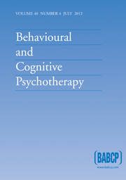 Behavioural and Cognitive Psychotherapy Volume 40 - Issue 4 -