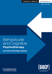 Behavioural and Cognitive Psychotherapy Volume 42 - Issue 5 -