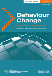 Behaviour Change Volume 31 - Issue 2 -