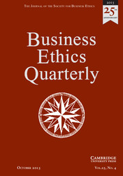 Business Ethics Quarterly Volume 25 - Issue 4 -