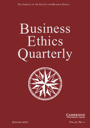 Business Ethics Quarterly Volume 27 - Issue 1 -