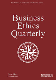Business Ethics Quarterly Volume 27 - Issue 4 -