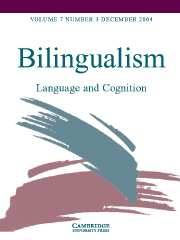 Bilingualism: Language and Cognition Volume 7 - Issue 3 -