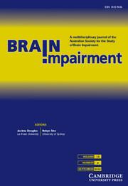 Brain Impairment Volume 13 - Issue 2 -