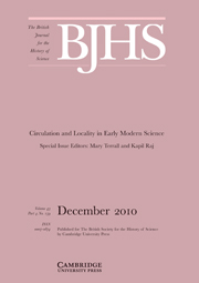The British Journal for the History of Science Volume 43 - Issue 4 -  Circulation and Locality in Early Modern Science