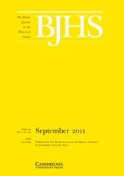 The British Journal for the History of Science Volume 44 - Issue 3 -