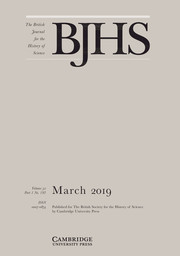 The British Journal for the History of Science Volume 52 - Issue 1 -
