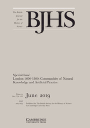 The British Journal for the History of Science Volume 52 - Special Issue2 -  London 1600–1800: Communities of Natural Knowledge and Artificial Practice