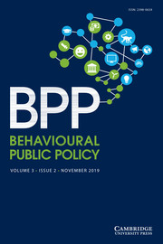 Behavioural Public Policy  Volume 3 - Issue 2 -
