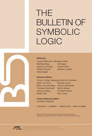 Bulletin of Symbolic Logic Volume 25 - Issue 1 -